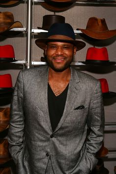 Anthony Anderson from Black-ish wearing a navy blue wool felt pinched crown Summit with a saddle leather brim.