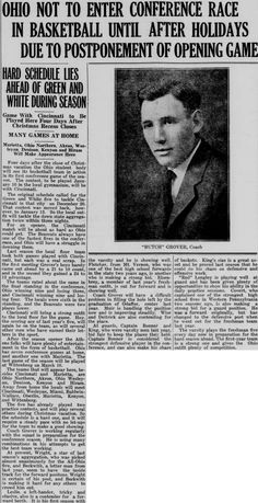 """Green and white (Athens, Ohio) December 12, 1924. """"Ohio not to enter conference race in basketball until after holidays due to postponement of opening game."""" :: Ohio University Archives"""