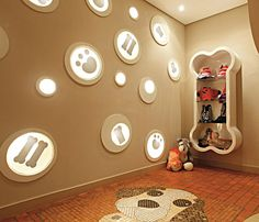 doggie play room!!!!  this gives me an idea, buy push  lights, put design on top ... tadah