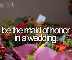 Be the Maid of Honor in a wedding. Check ;) as of 2014   @Heather H - check that off your bucket list