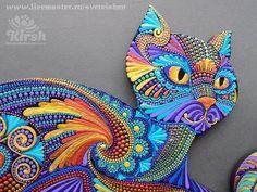 Svetlana Kirsh Dot Painting Tools, Dot Art Painting, Mandala Painting, Fabric Painting, Stone Painting, Cat Mandala, Mandala Dots, Arte Country, Mandalas Drawing