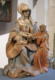 Hans Leinberger (zugeschr.): Hl. Anna Selbdritt, um 1510, Lindenholz mit Resten älterer Fassung, Bayerisches Nationalmuseum in München