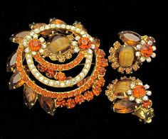 Vintage Juliana Rhinestone Set D&E Pin Earrings Juliana Jewelry Topaz Art Glass Brooch Demi Delizza Elster Autumn Fall Jewelry