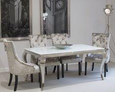 Stunning Glass Dining Table Kitchen Room Furniture Silver Metal Leg Modern White