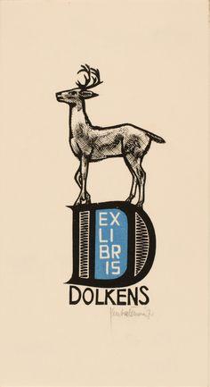 A. Dolkens' bookplate (or ex libris) by Jan Battermann, 1971.