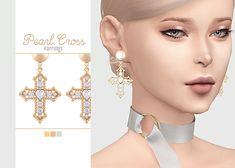Pearl Cross Earrings  • New mesh / EA mesh edit  • Category: earrings (women)  • Age: teen / young adult / adult / elder  • 3 swatches  Download: SimFileShare