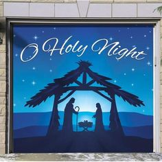 The Holiday Aisle Nativity Scene O Holy Night Garage Door Mural Christmas Door Decorations, Christmas Wreaths, Outdoor Nativity Scene, Nativity Painting, Garage Door Decor, Door Murals, Mural Wall, Christmas Inflatables, O Holy Night