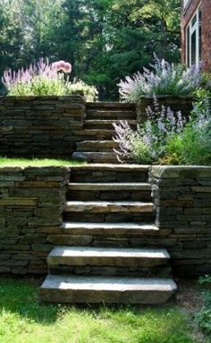 Idea for driveway side- Retaining wall/stairs natureal stone - contemporary landscape by Matthew Cunningham Landscape Design Walled Garden, Terrace Garden, Garden Paths, Garden On A Hill, Terraced Landscaping, Landscaping On A Hill, Landscaping Ideas, Terraced Backyard, Shade Landscaping