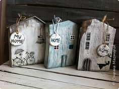 House Painting, Painting On Wood, Home Crafts, Diy And Crafts, Fall Decor Signs, Small Wooden House, Ceramic Houses, Wooden Houses, Wood Block Crafts