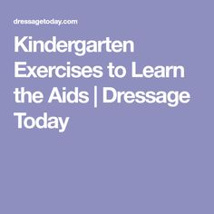 Kindergarten Exercises to Learn the Aids   Dressage Today