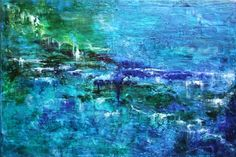 "ARTFINDER: Blue scenery by Anna Sidi-Yacoub - Oil, Wax on canvas, Varnished. The sides are painted blue, ready to hang. Dimensions: 70 cm x 50 cm x 2 cm/ 27.5"" x 20"" x 0.8""."