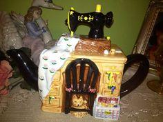 Adorable ceramic Sewing Machine Teapot. by Beyondthegardenwall