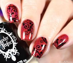 WEBSTA @ shannasnailadventures - Added some swirls to 'Apple-y Ever After' - A crisp red holographic polish you just wanna take a bite out of, just like Snow White. 🍎❤️🍎 This is 2 coats plus #HKGirltopcoat. Stamping is @bundlemonster BM-314 with @powderperfect black stamping polish. ⭐️✨⭐️ If you want to see the whole collection now and more photos than I will post here, go Check out my Facebook page (link in bio). #cupcakepolish #prsample———————————————————————The Fall Fancies collection…