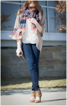 Dark Jeans, White Top, Printed Scarf, Beige Coverup, Neutral Shoes