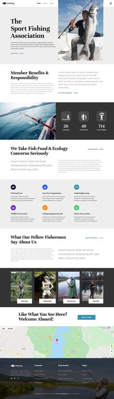Fishing template powered by the Sparky Page Builder is a perfect choice for websites for fishing clubs, fishermen companies, and businesses that sell fishermen equipment. #Joomla Fish Template, Welcome Aboard, Joomla Templates, Sport Fishing, Ecology, Environmental Science