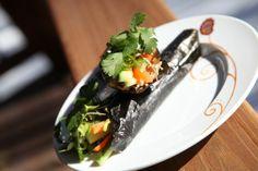 Riceless sushi - tuna and egg temaki roll