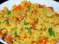 BULGUR SE ZELENINOU  (4 dospělé porce) Challah, Fried Rice, Tofu, Fries, Paleo, Health Fitness, Ethnic Recipes, Diet, Bulgur