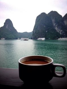Morning coffee in Halong Bay, Northern Vietnam