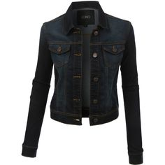 LE3NO Womens Classic Long Sleeve Denim Jean Jacket ($29) ❤ liked on Polyvore featuring outerwear, jackets, pocket jacket, long sleeve jacket and tailored jacket