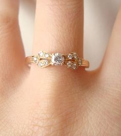 Vintage Bow Ring, Diamond & 18k Gold, Engagement Wedding