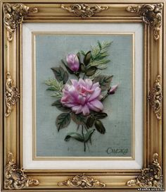 Roses ribbon embroidery
