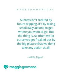 When I read this in @natalieanntaggart's blog a couple weeks ago, it set off all the bells in my head. I was just telling a client that it's easy for us to feel paralyzed by the big picture. So this #FreedomFriday, remember that the big picture is lots of baby steps one after the other until you get there! Start taking those steps towards your best life!  #moneycircle #money #moneycoach #financialcoach #lifecoach #freedom #planning #goals #dreams #financialfreedom #financialplanning #women…