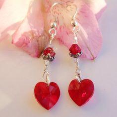 Valentine Swarovski Crystal Earrings Ruby by MagdaleneJewels