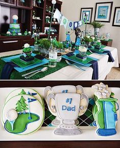 fathers-day-golf-party-par-tee-ideas-cookies-turf-table-runner