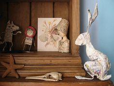 Papier Mache by Jam Jar Art Joy Williams, Paper Bunny, Paper Mache Crafts, Jar Art, Cardboard Art, Paper Artwork, Paperclay, Animal Decor, Paper Dolls