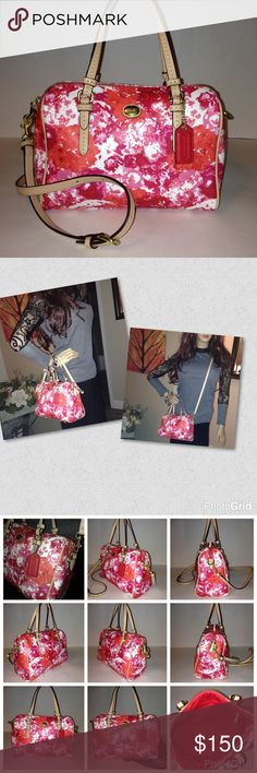 New Coach Peyton Floral Bennett Satchel Crossbody Same day shipping! 📦📦📦 Absolutely amazing authentic Coach Peyton Metro Floral Bennett Satchel Crossbody. Sized perfectly for all of your on-the-go travels, this little darling is crafted in gorgeous authentic Coach coated canvas edged in beautiful tan leather. New. Never used. Includes detachable adjustable strap offering multiple carrying options. Scarf available under separate listing. Style F31461 #love #coach #lovecoach Coach Bags…