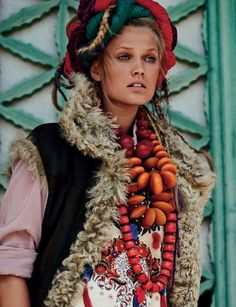 Vogue Germany July 2015 Awesome Toni Garrn dons folk fashion Photographer: Giampaolo Sgura