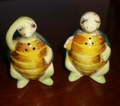 Mr. and Ms. Turtle Vintage Salt and Pepper Shakers