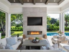 Living Pool, Outdoor Living Rooms, Outdoor Spaces, Outdoor Patios, Outdoor Landscaping, Naples, California Room, Outdoor Fireplace Designs, Outdoor Fireplaces