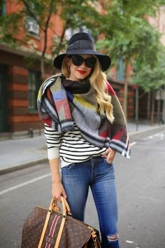 So, in addition to the military vest , another big thing this Fall is the plaid scarf. So many ways to wear it... A large square scarf i...