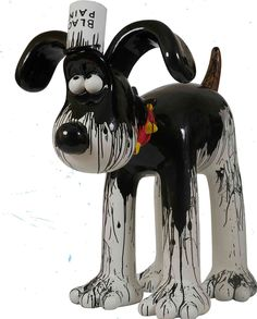 "Watch Out, Gromit! | Gromit Unleashed - Gerald Scarfe, political cartoonist for The Sunday Times, tells us that he had ""great fun painting my old friend Gromit. Rather than paint a pattern all over him I thought a 'cartoon' situation would be more typical - an unfortunate paint bespattered Gromit seemed more amusing!"""