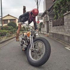 @shizuka.0926 kicking over her 66 Shovelhead ...Japan Rocks! #iphoneonly from _jaymac_. More at www.choppertown.com