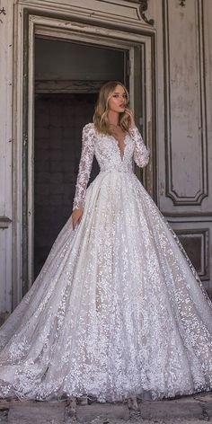 WONÁ Wedding Dresses Total Inspiration For 2020 ❤ wona wedding dresses ball gown with long sleeves v neckline lace sequins nelson Evening Dresses For Weddings, Long Wedding Dresses, Princess Wedding Dresses, Lace Weddings, Sparkle Wedding Dresses, Princess Ball Gowns, Prom Dresses Blue, Pnina Tornai Wedding Dresses, Dramatic Wedding Dresses