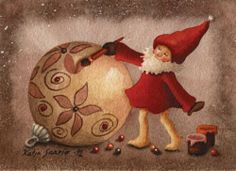 Katja Saario Christmas Cards, Christmas Ornaments, Gnomes, Illustration Art, Art Illustrations, Illustrators, Holiday Decor, Finland, Stamps
