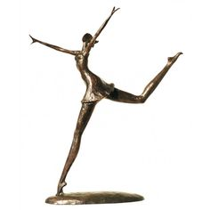 "Corbin Bronze Sculpture Dance Moderne IV 17""H, 3.5""D, 14""W Bronze, green/brown patina"