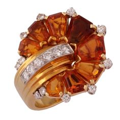 An Unusual Retro Citrine and Diamond Ring. USA c. 1940s