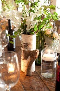 floating candles -- use burlap and navy ribbon?