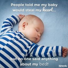 People told me my baby would steal my heart ❤... but no one said anything about my bed! 😂 #Momlife