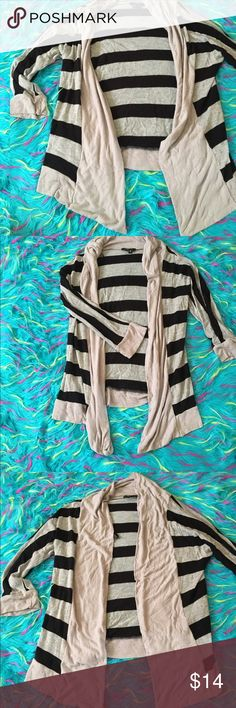 Spotted while shopping on Poshmark: ✨HP✨•Gray & Black Striped Open Waterfall Cardigan•! #poshmark #fashion #shopping #style #My Michelle #Sweaters
