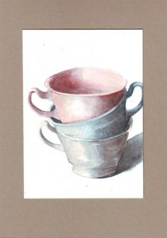 Knysna, South Africa Etsy shop Original watercolor painting teacup stack art by HelgaMcL on Etsy,
