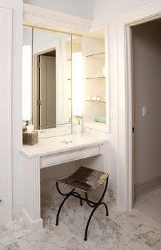 I want a makeup station/vanity like this so I have good light and can sit down and take my time putting my makeup on!