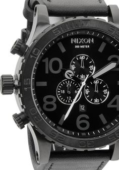 The Nixon 51-30 Chrono Leather All Black Watch and Unique Wristwatch designs from the Web's Coolest Modern Watch store Watchismo.com