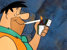 "Original production cell of Fred Flintstone smoking (Hanna-Barbera Studios, The Flintstones was originally sponsored by Winston Cigarettes and during the ""sponsored by"" part of the titles, Fred would be shown smoking a Winston. Ah, the good old days! Cannabis, Marijuana Art, Marijuana Funny, Medical Marijuana, Weed Memes, Weed Humor, Ganja, Fred Feuerstein, Stoner Humor"