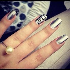 nail art argent léopard