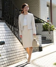 VERY3月号掲載 白 ツイードスーツ 30代母親向け