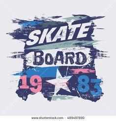 Vector illustration on the theme of skateboard and skateboarding. Graffiti design. Grunge background. Number sport typography, t-shirt graphics, poster, print, banner, flyer, postcard